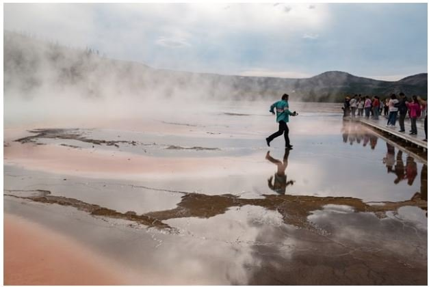 1 of the 4 men who ran onto Grand Prismatic Spring in Yellowstone National Park