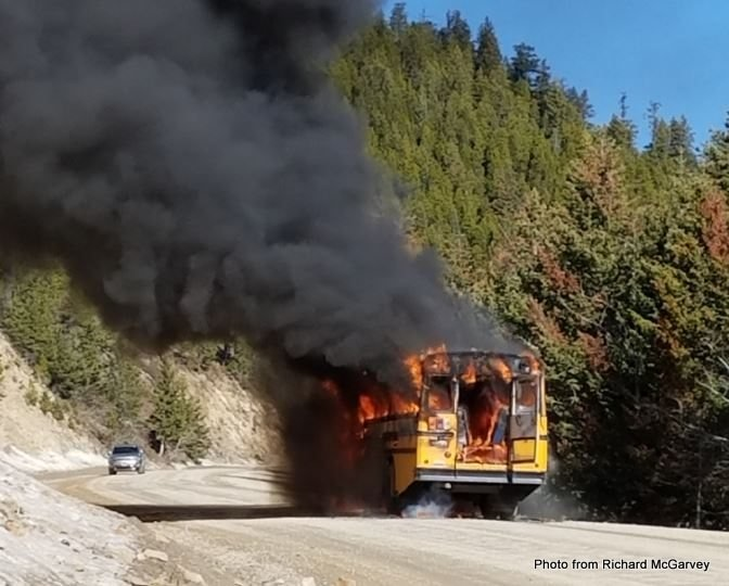 School Bus Headed To Red Lodge Goes Up In Flames All