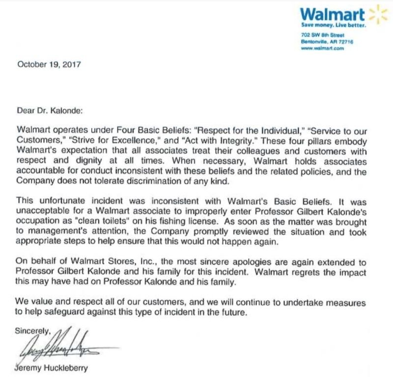 apology letter from walmart