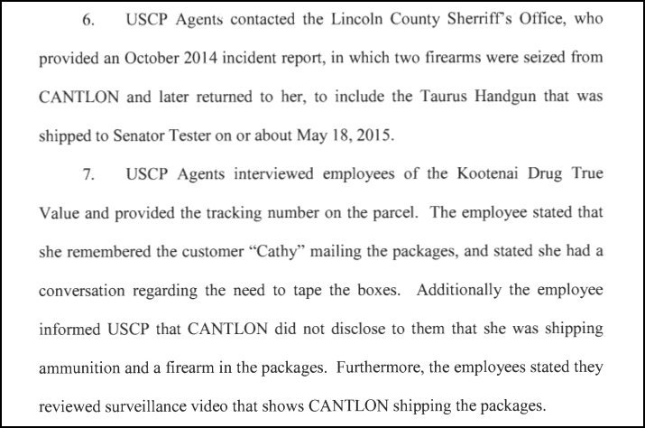 cathleen roselyn cantlon of troy in northwest montana was caught mailing dangerous items to us sen