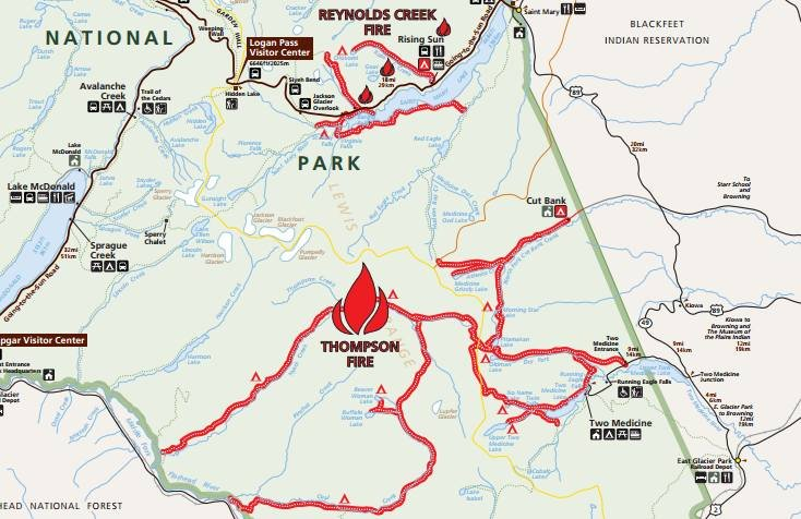 Thompson Fire in Glacier National Park grows to 14900 acres
